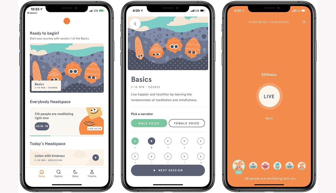 Varias capturas de pantalla de la aplicación Headspace