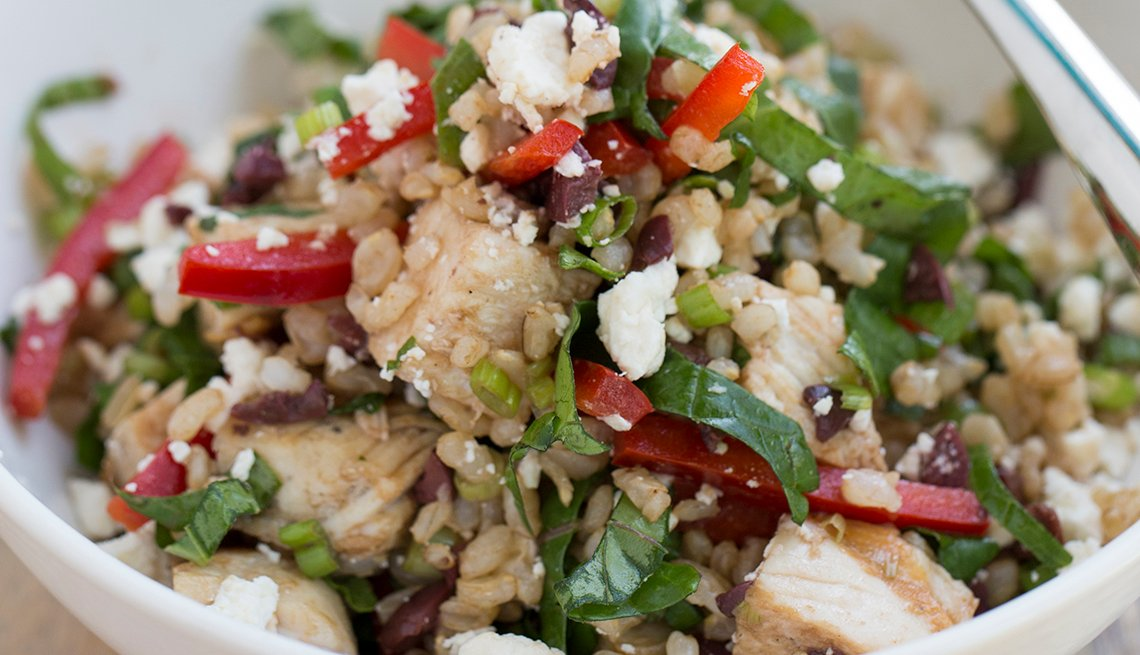 closeup of mediterranean hot and. cold brown rice salad