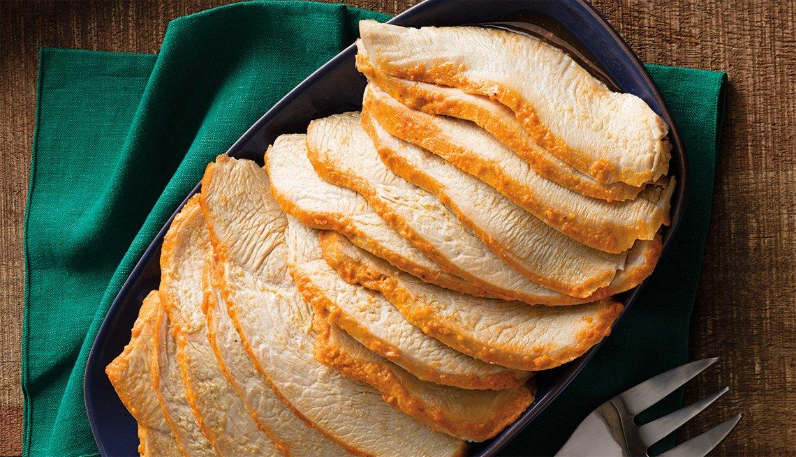 plated dish of sliced sriracha mayo roasted turkey breast
