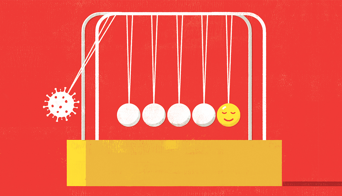 graphic illustration of a newtons cradle balance ball device where one end is a happy face and the other end is a covid nineteen cell