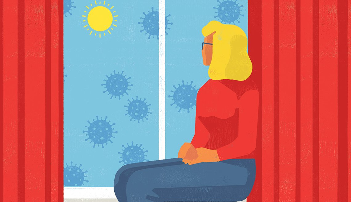 graphic illustration of a woman seated next to a window looking at the outside sky which is filled with floating coronavirus germs