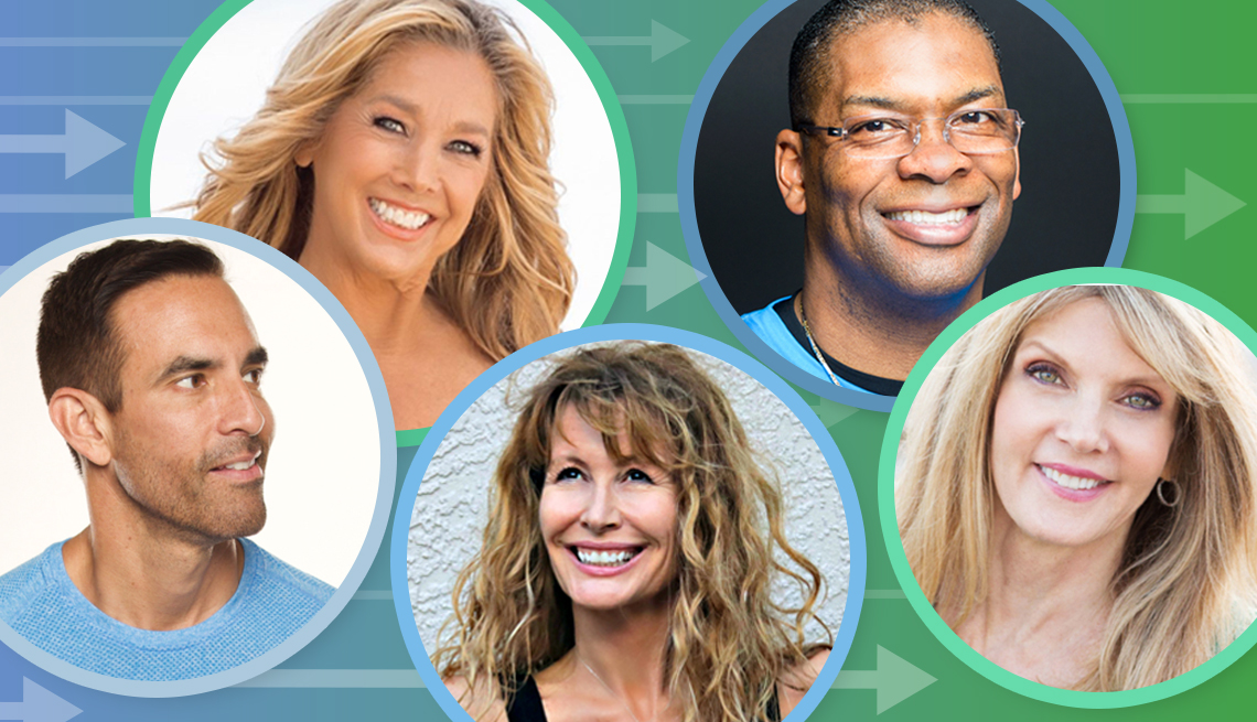 headshots of the a a r p fitness experts clockwise from top left denise austin bryant johnson kathy smith lorraine ladish and jorge cruise