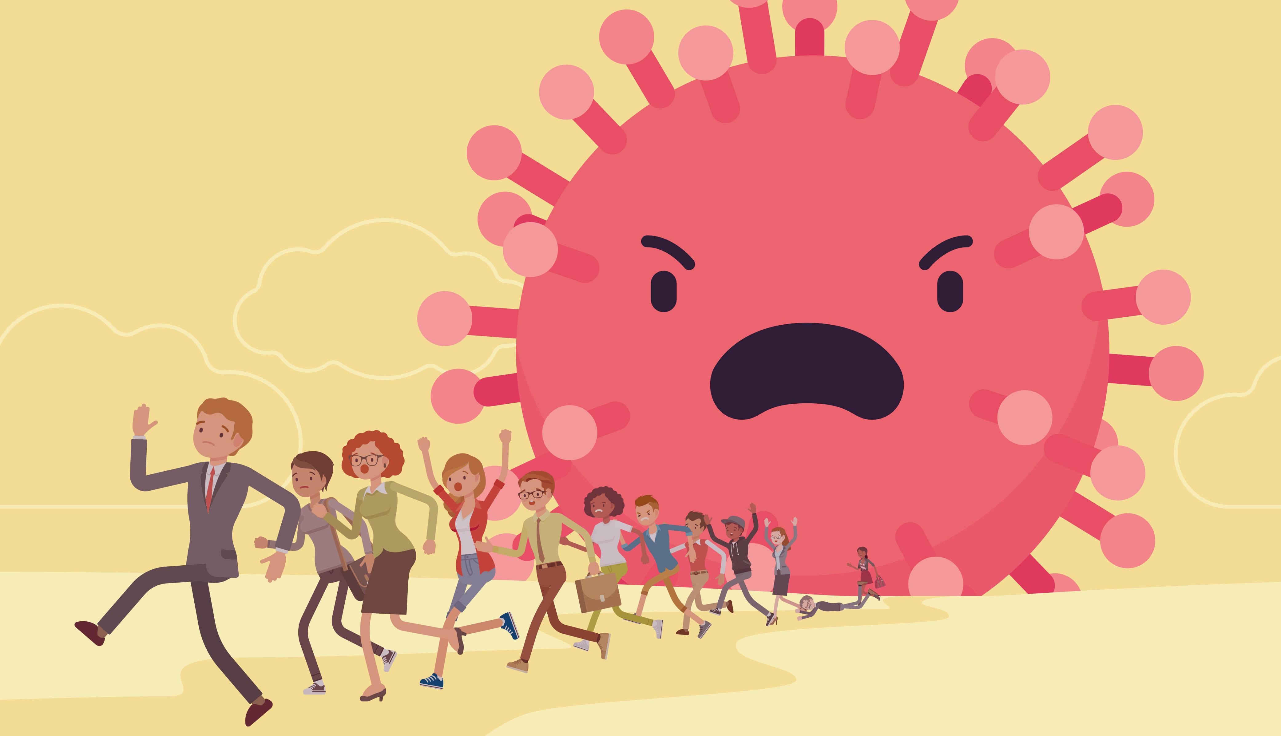 graphic of coronavirus chasing running people