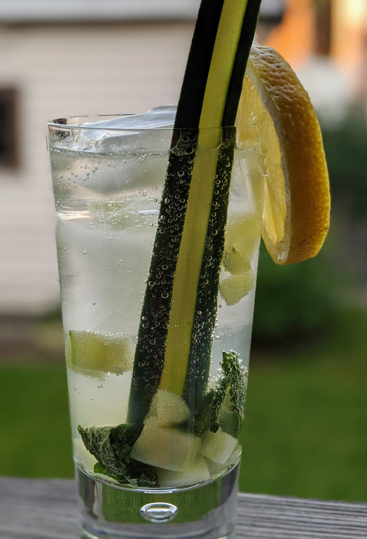 closeup of a cucumber mint crush
