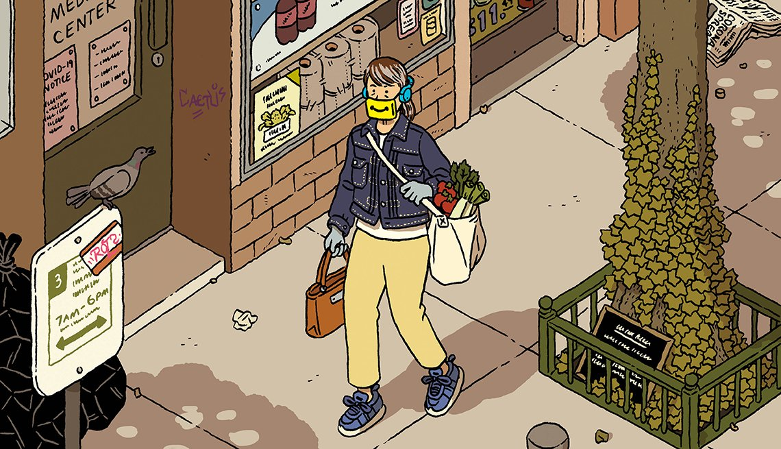 cartoon of a woman carrying groceries on a city street wearing a covid face mask with a smile printed on the front