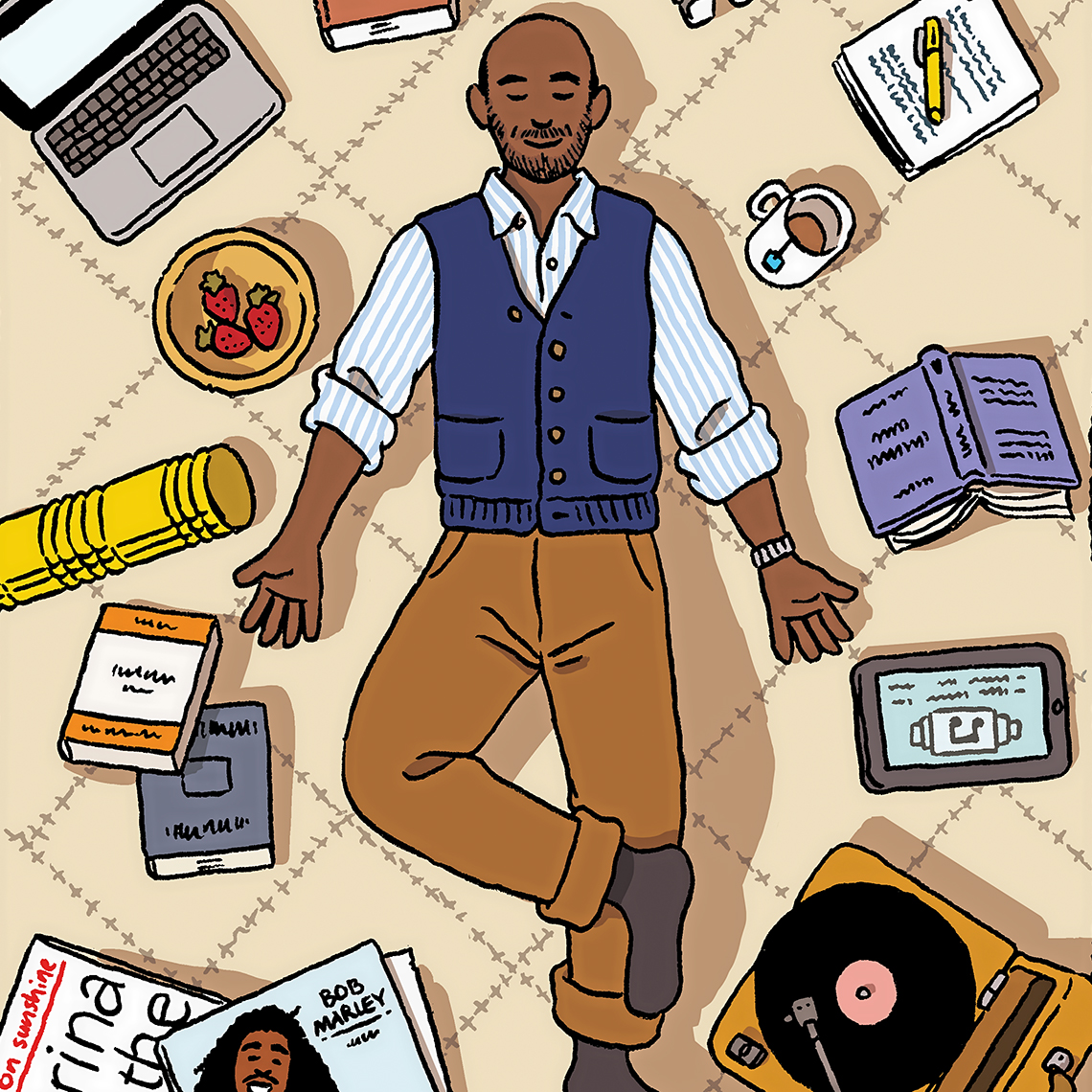 smiling man laying on floor listening to record player surrounded by book, tea, records, a dish or strawberries