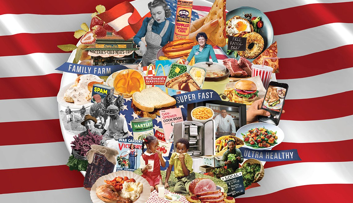 illustration collage of dozens of food items on top of a plate with the stripes of the u s flag in the background