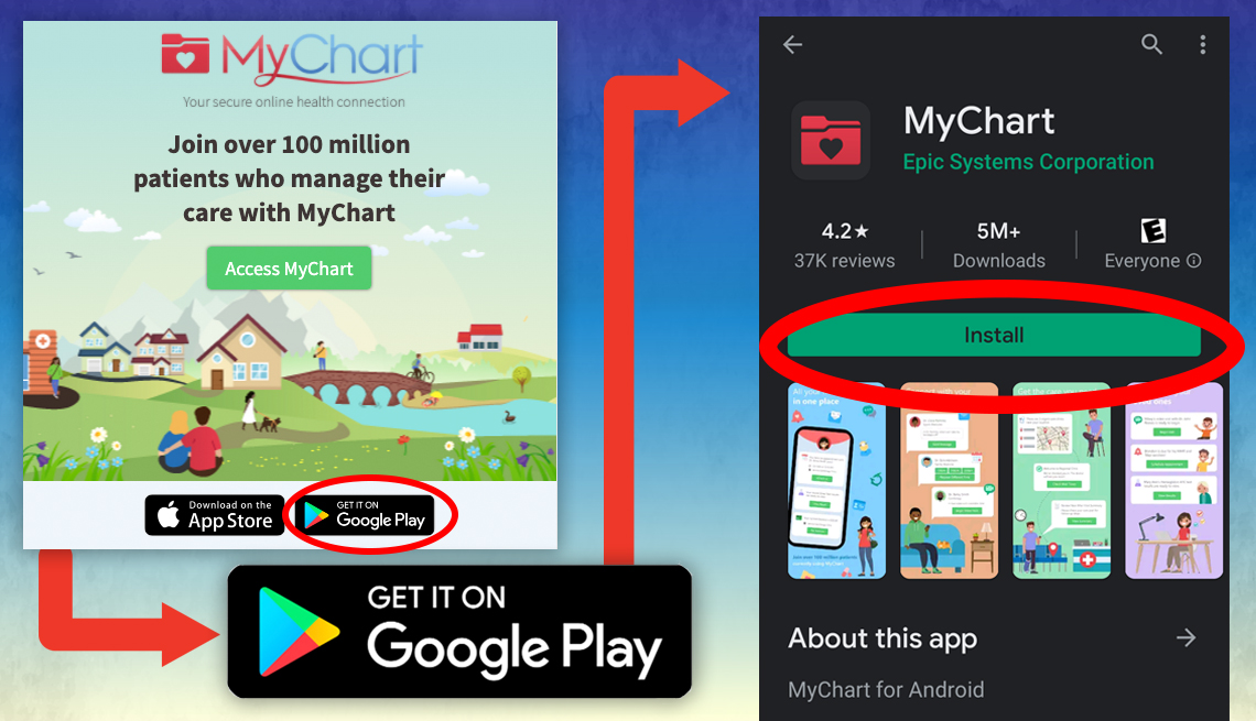 screenshot of steps involved in downloading the mychart app on an android mobile phone using the google play store