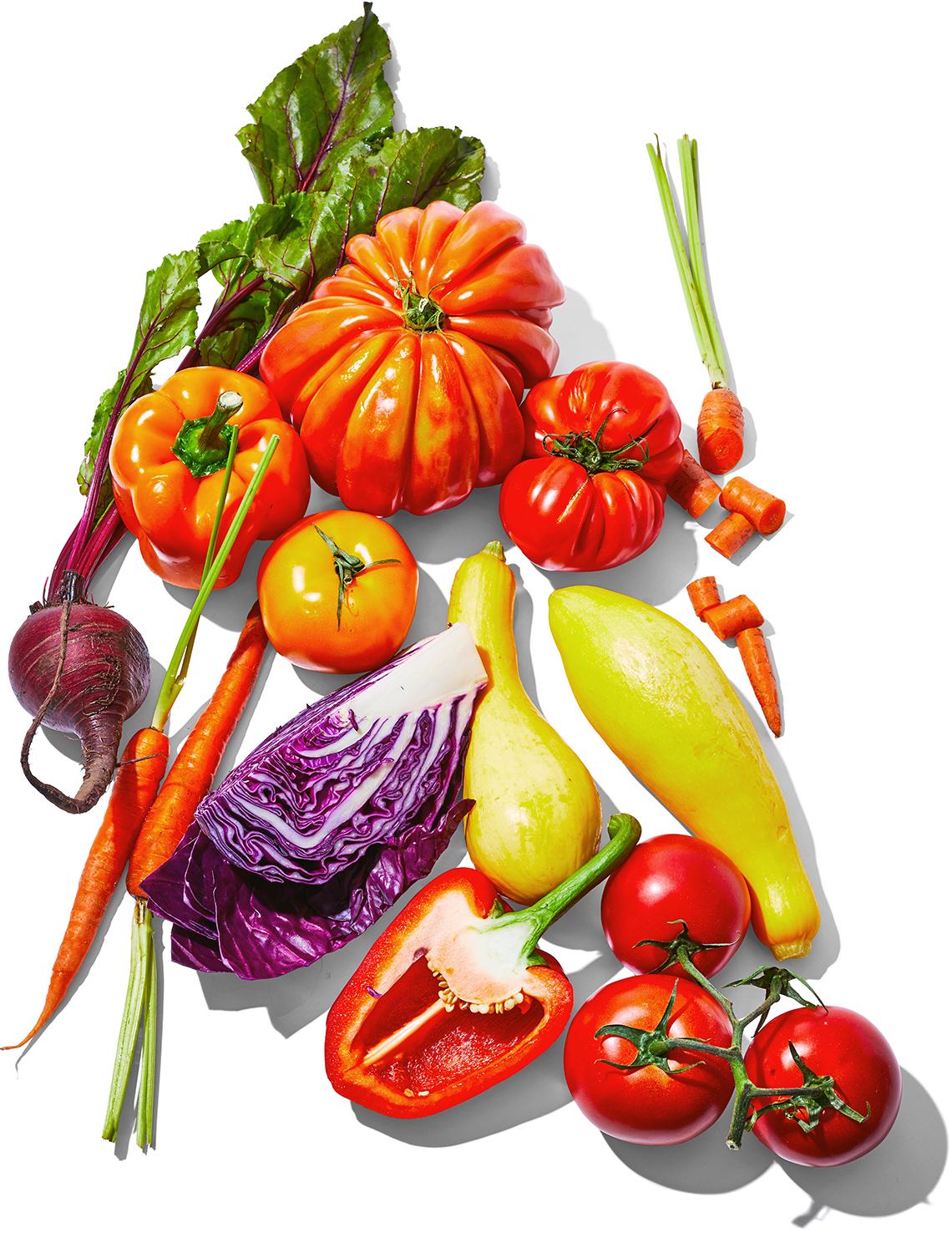 Variedad colorida de verduras frescas