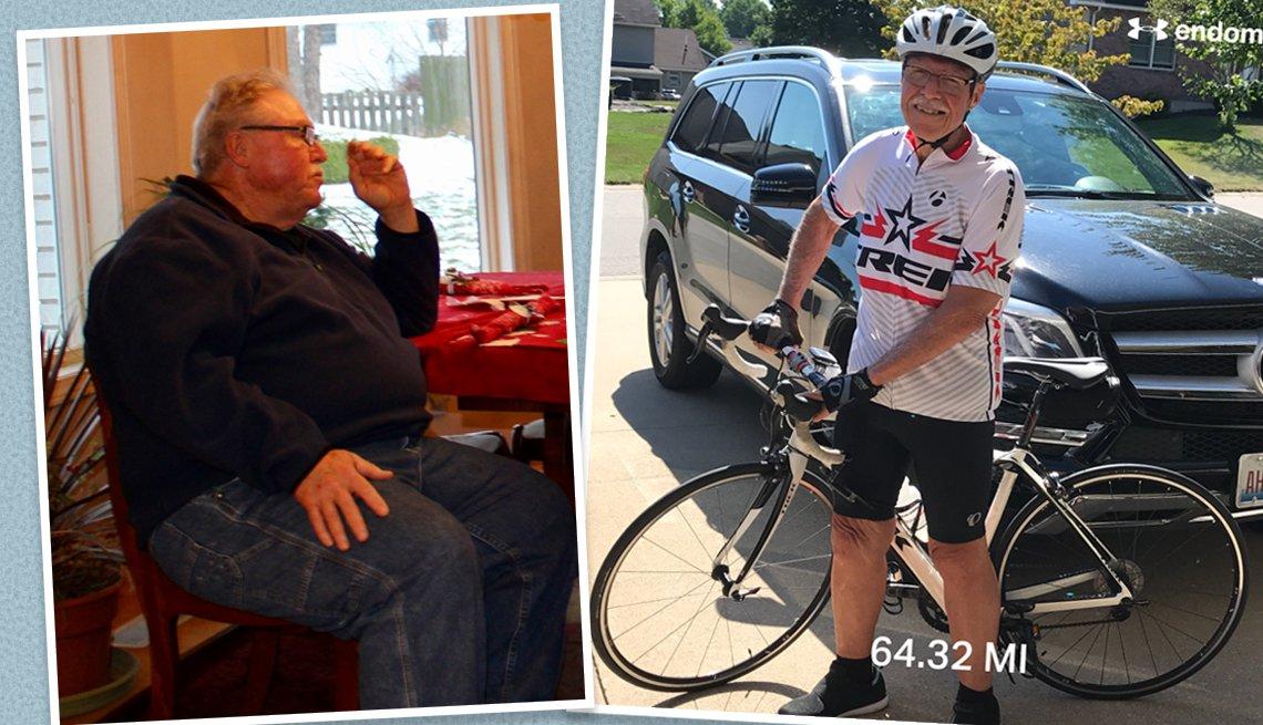 Antes y depués de la pérdida de peso de Reginald Rowsey