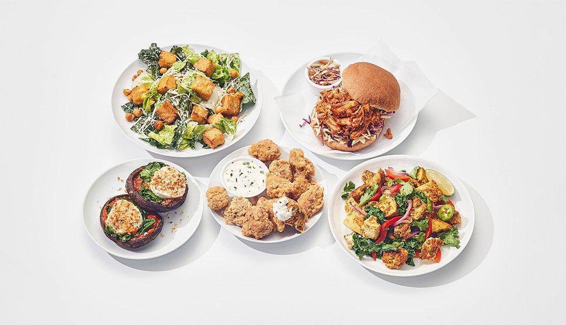 Diferentes platos vegetarianos
