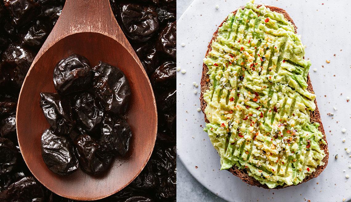 prunes, avocado toast