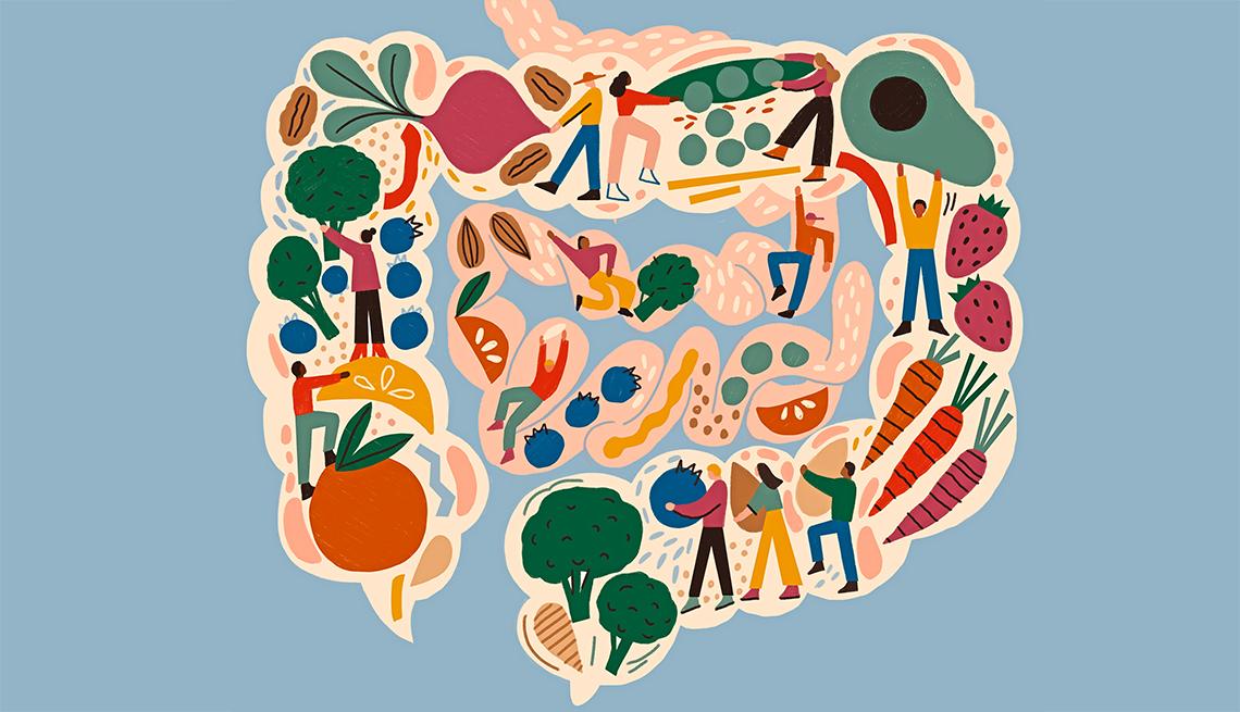 Ilustración de una vista interior del intestino sano lleno de verduras y frutas