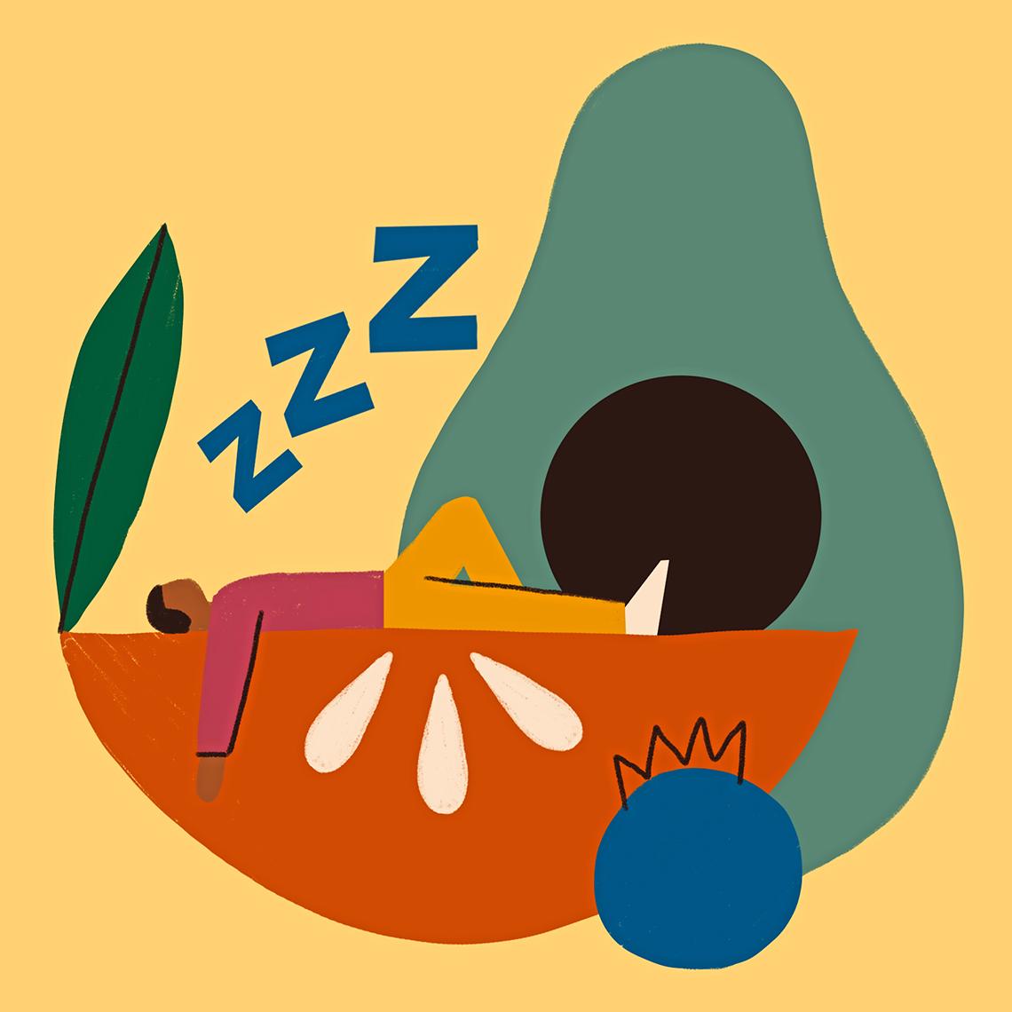 Ilustración de una persona de dibujos animados durmiendo en una rodaja de manzana junto a un aguacate y un arándano