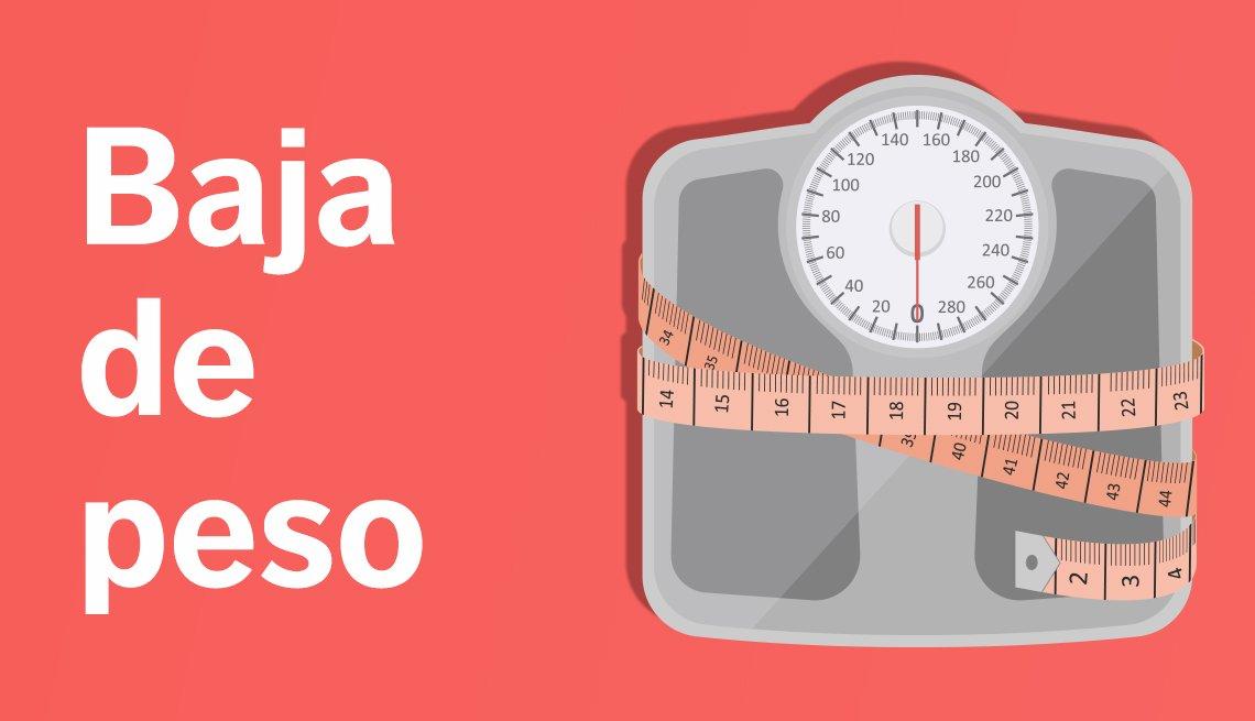 Una balanza envuelta en una cinta de medir y un texto que dice baja de peso