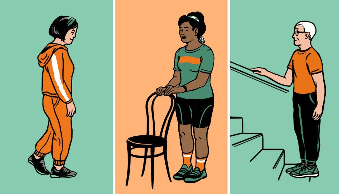 Ilustración de tres personas ejercitándose en casa