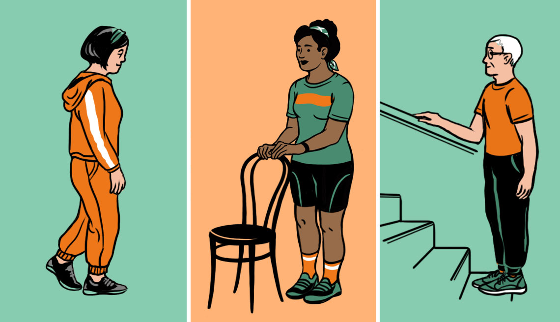 illustrations of people doing balance exercises