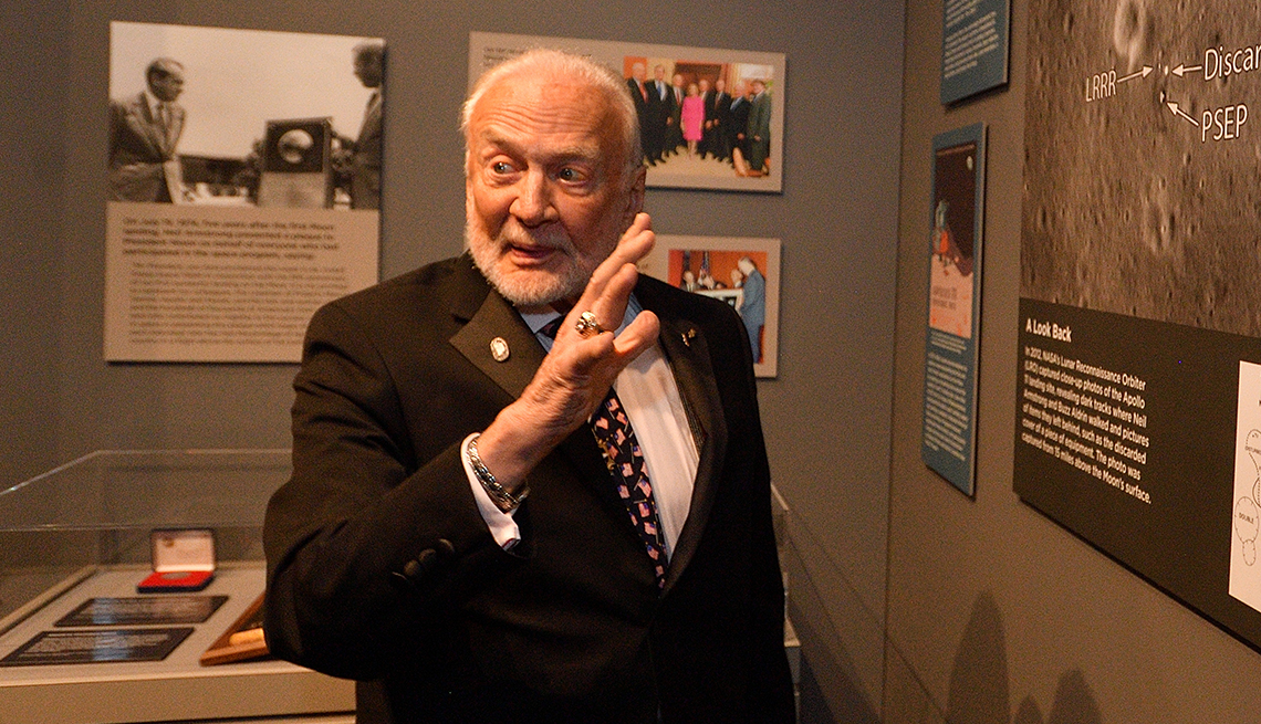 item 12 of Gallery image - buzz aldrin giving a talk at an apollo eleven museum exhibit