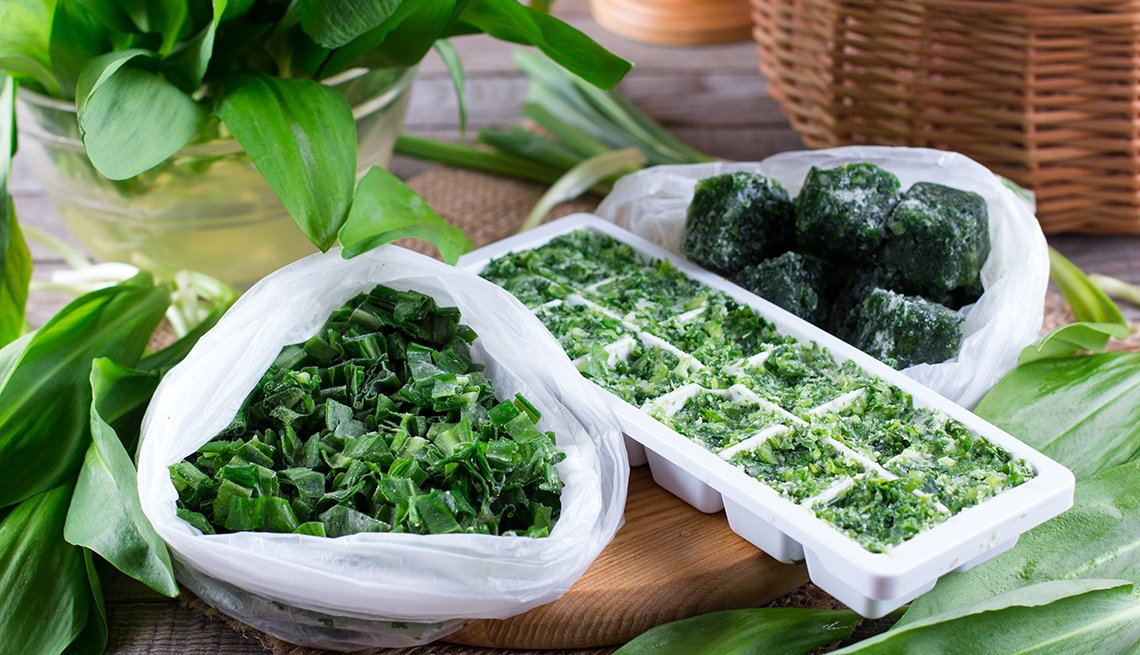 item 7 of Gallery image - leafy greens chopped and frozen in ice cube trays