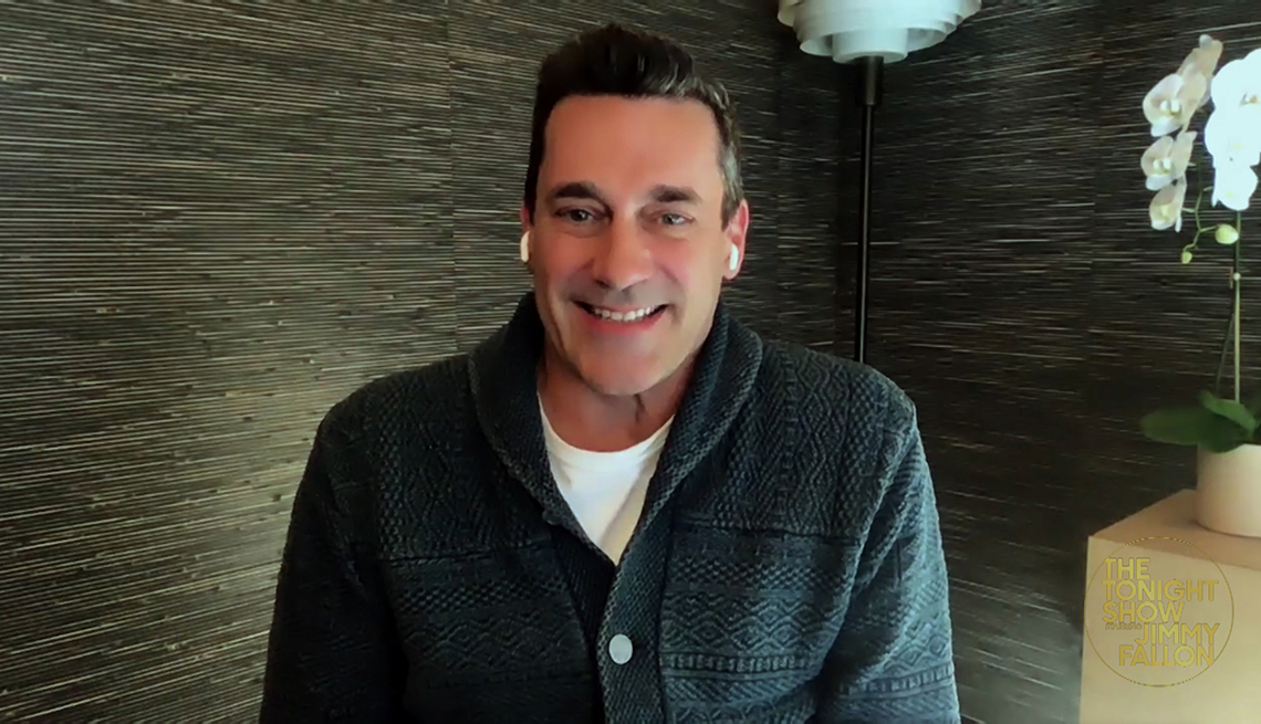 item 2 of Gallery image - jon hamm doing an interview from his home