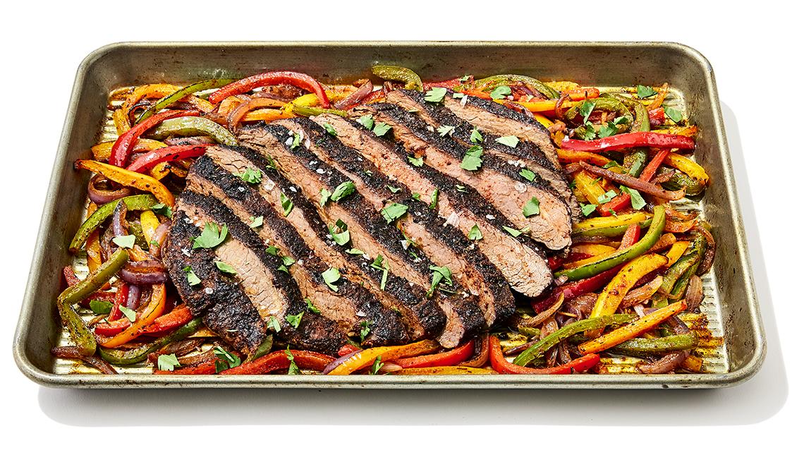 flank steak fajitas sheet pan meal