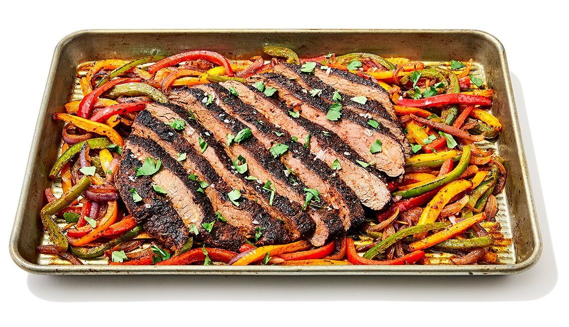 flank steak fajitas sheet pan meal