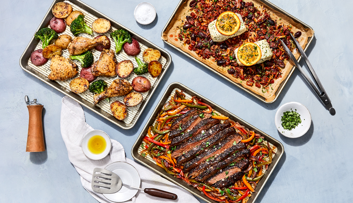 three sheet pan meals are shown with meat and vegetables all on one pan