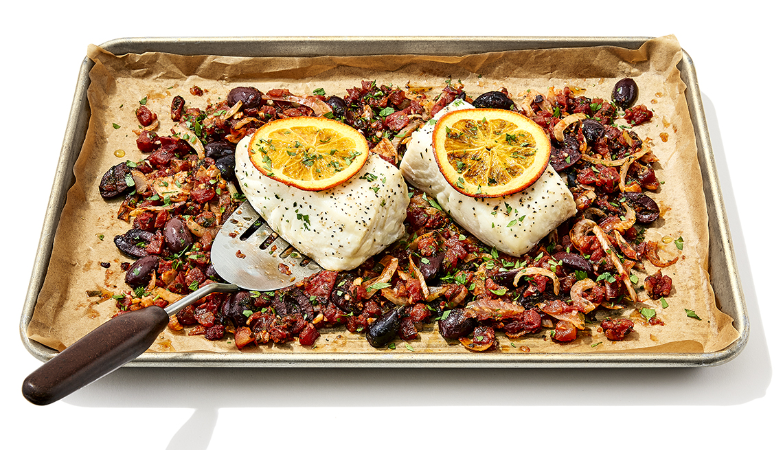 sheet pan mediterranean halibut and vegetables