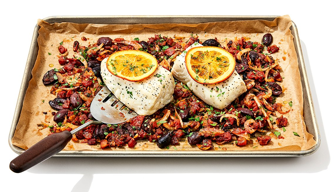 sheet pan mediterranean halibut and vegetables