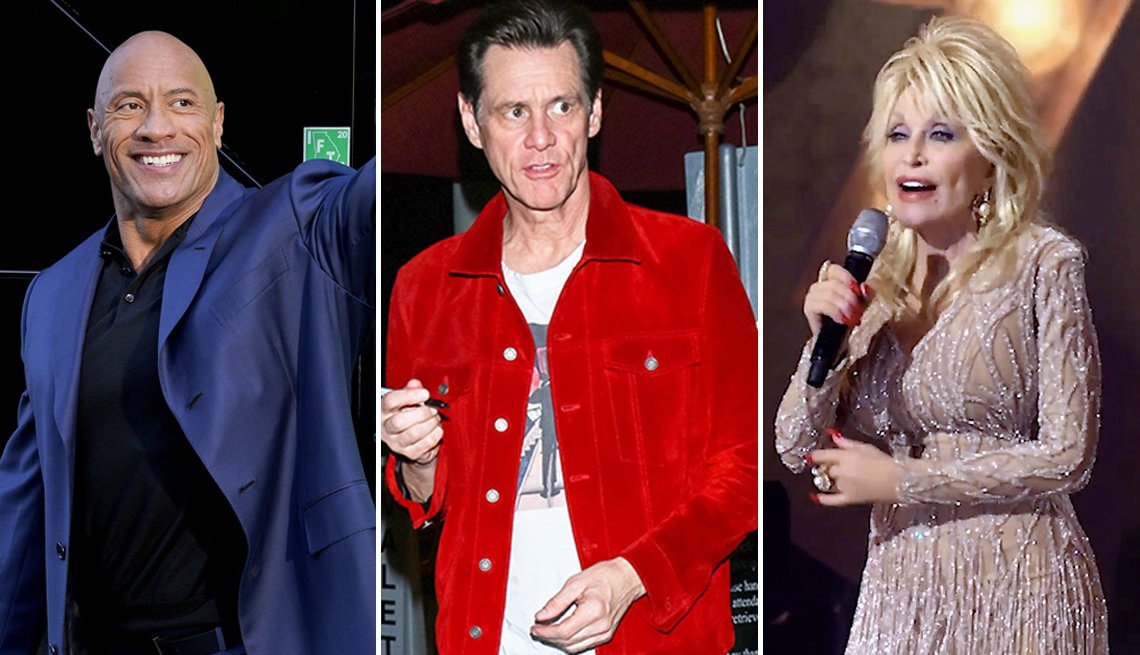 Tríptico de Dwayne 'the Rock' Johnson, Jim Carrey y Dolly Parton