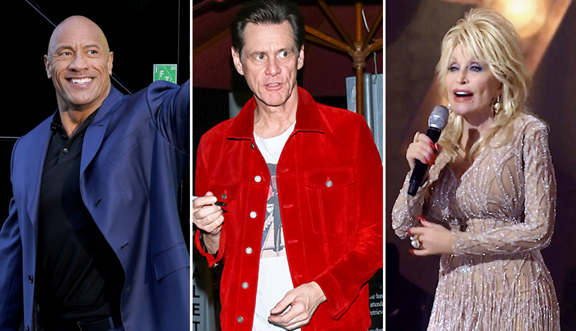 triptych of dwayne the rock johnson actor jim carrey and dolly parton