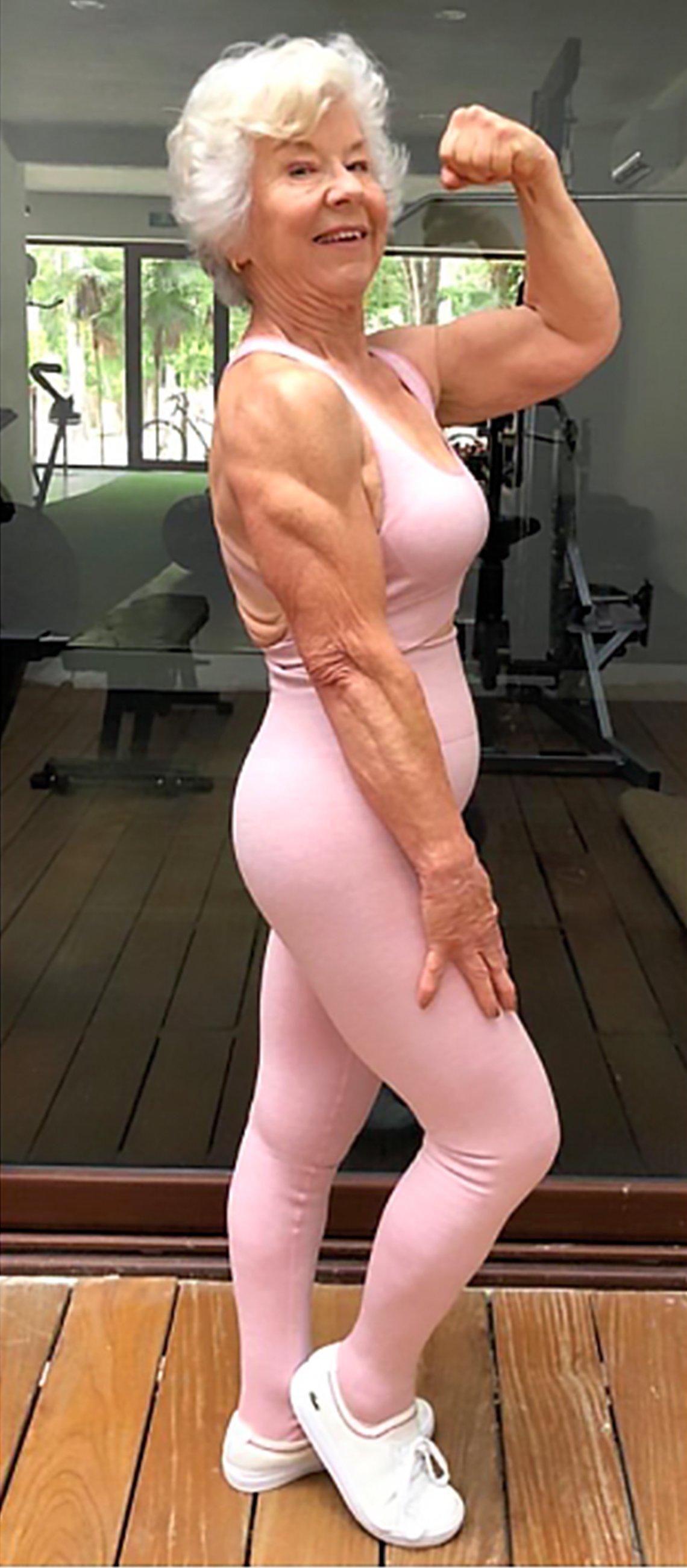 joan macdonald flexing muscles