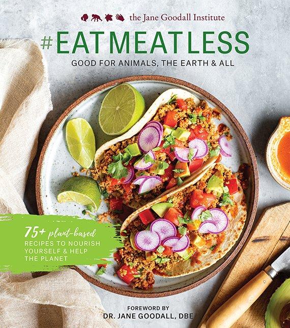 Portada del libro #EatMeatLess de Jane Goodall