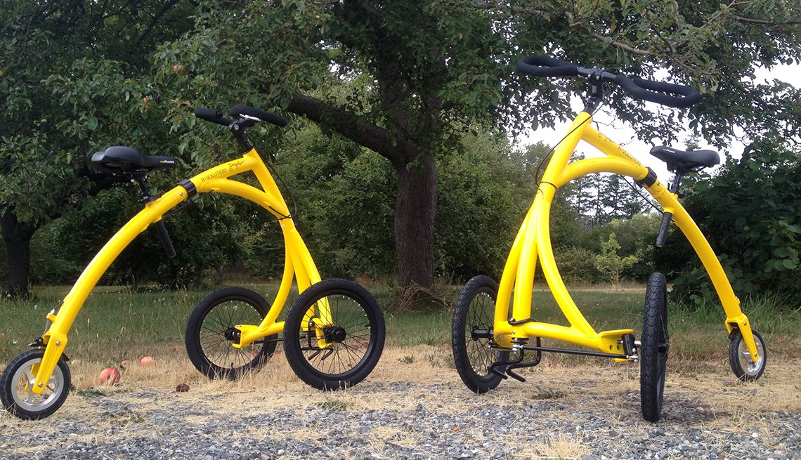 item 4 of Gallery image - two yellow trike bikes the alinker r volution