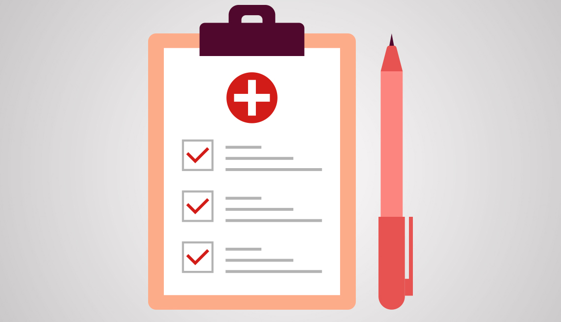Ilustración de un portapapeles con una lista de verificación de salud y un bolígrafo.