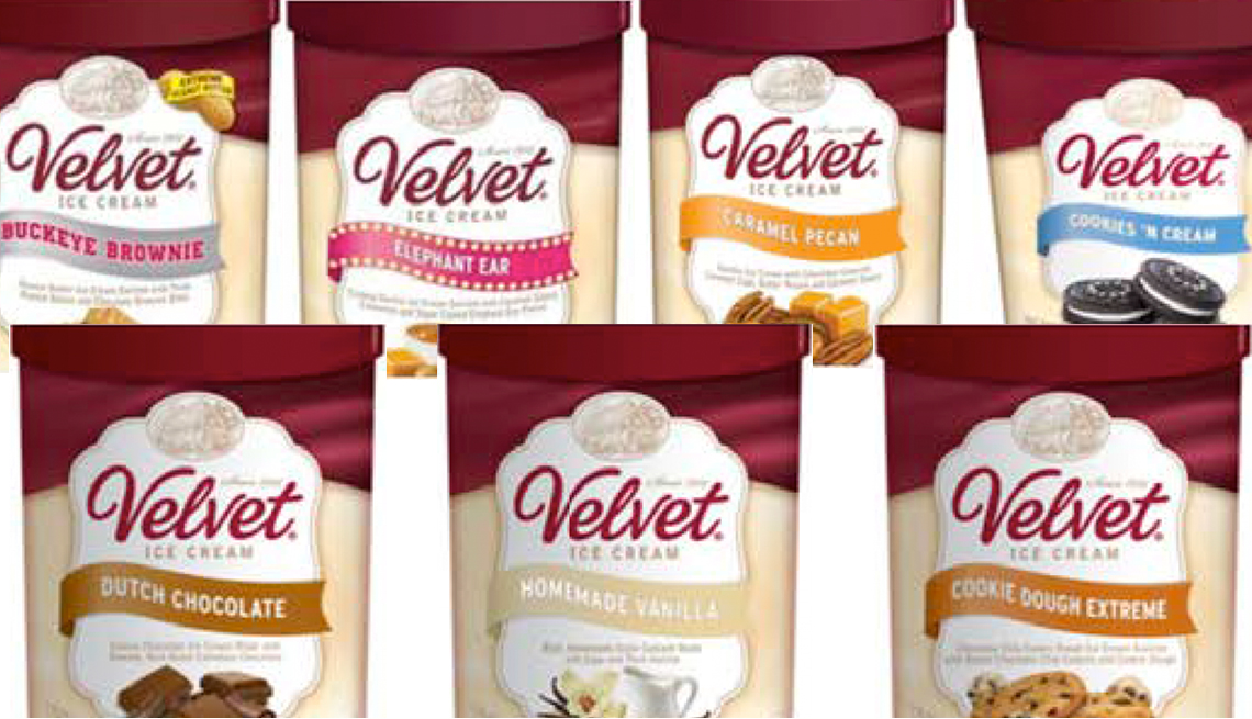 various containers of Velvet ice cream