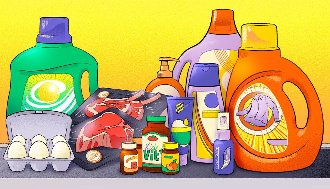 Ilustración con productos del hogar como detergentes y alimentos