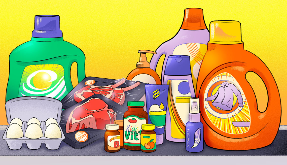 an illustration of household items such as food spices and cleaning products
