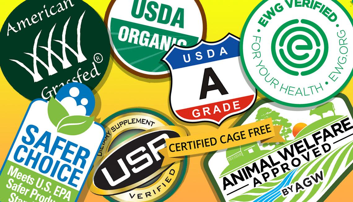 Varias etiquetas de productos