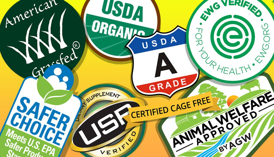 a collage of packaging labels