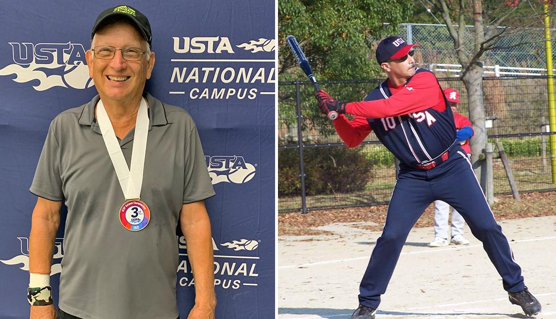 Dos atletas amateurs, Bill Cordes (izquierda) y Terry Hennessey (derecha)