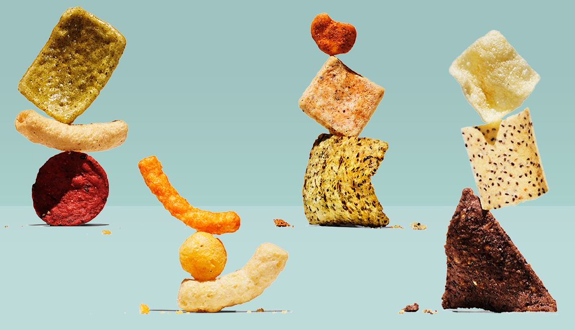 stacks of different types of chips marketed as more healthy than traditional chips