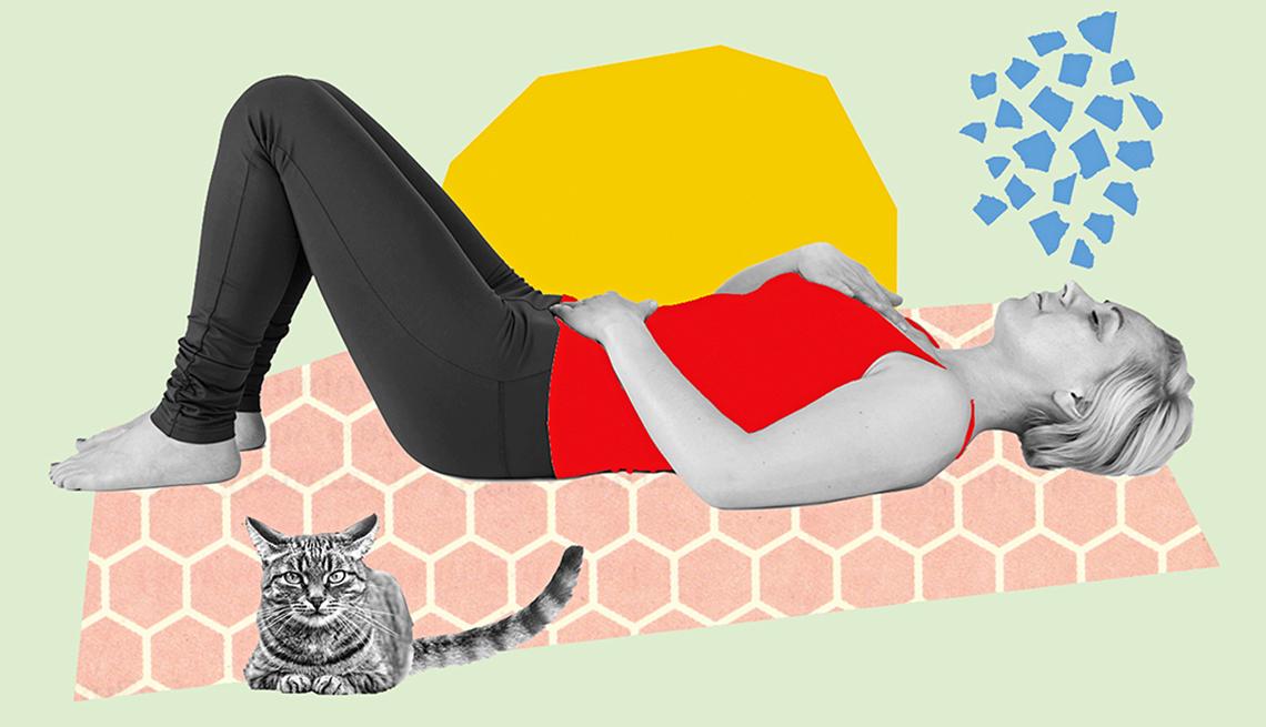 Ilustración de una mujer acostada en el piso respirando profundo