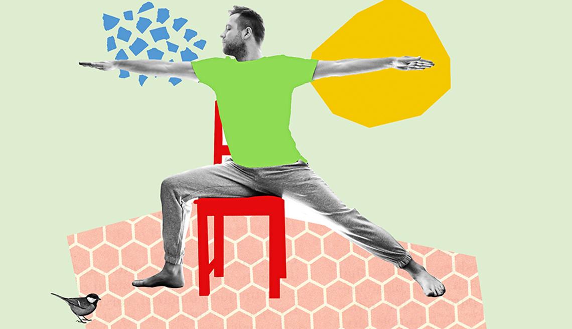 Ilustración de un hombre practicando yoga en una silla
