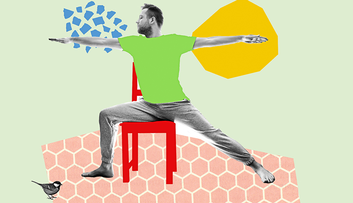 seated warrior pose cut-paper illustration