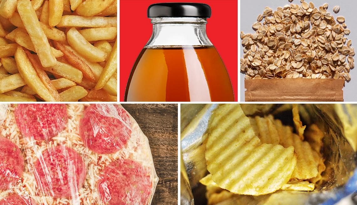 En el orden de las manecillas del reloj, papas fritas, te embotellado, granola, pizza congelada y chips