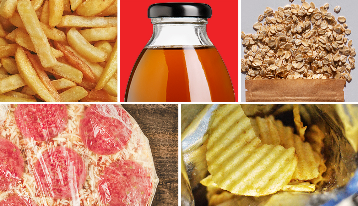 five foods to avoid pictured are french fries bottled tea instant packaged oatmeal bagged chips and frozen pizza