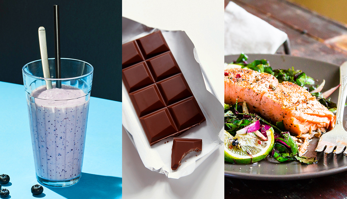 three foods a smoothie a dark chocolate bar and a healthy salad topped with salmon