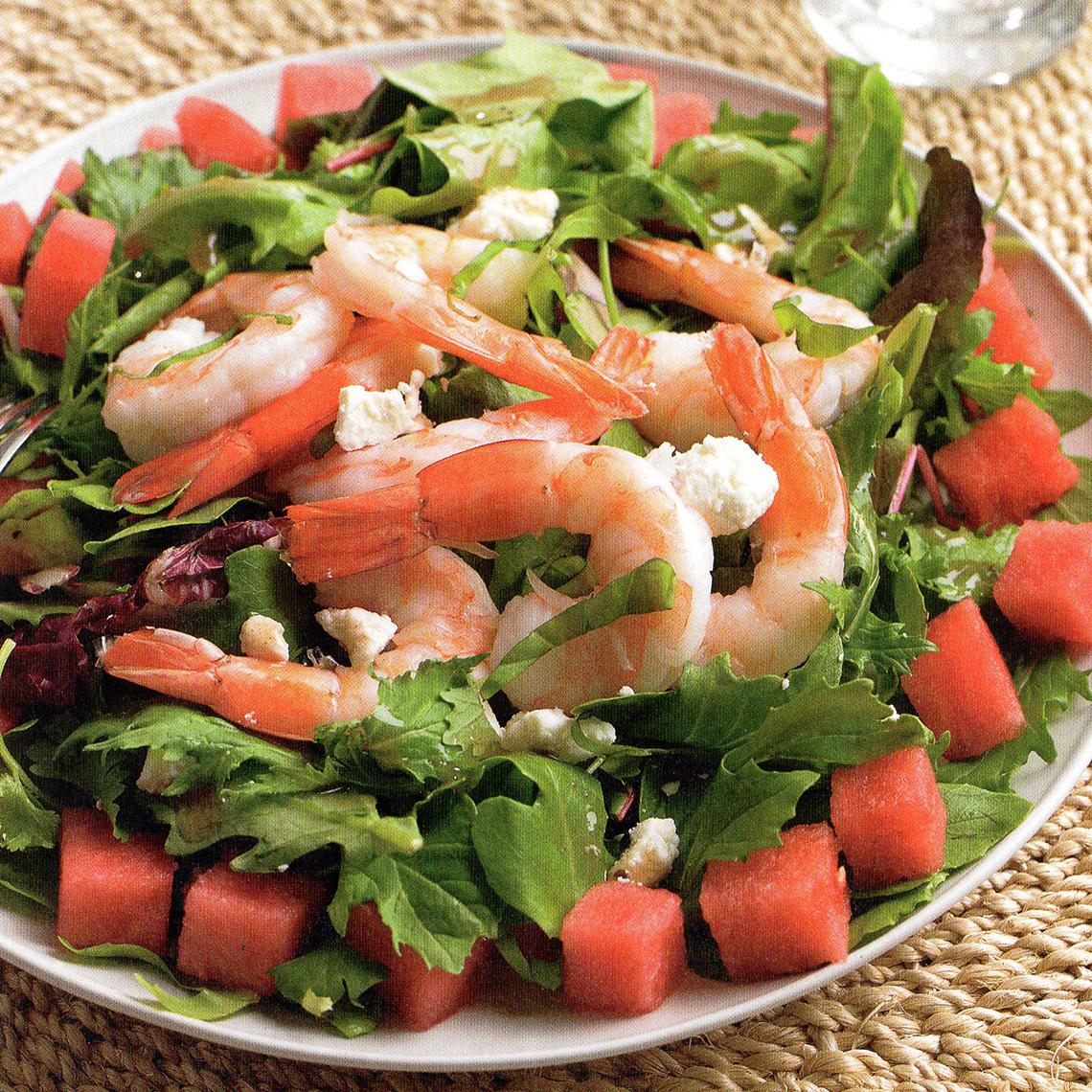 watermelon feta salad with shrimp