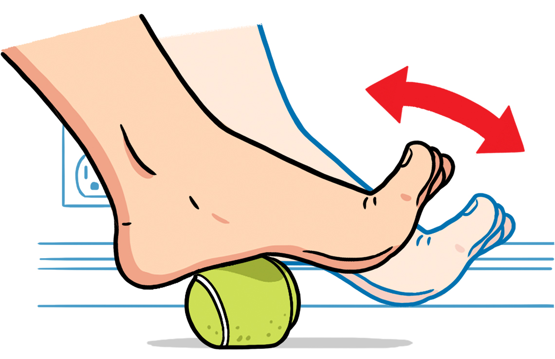 diagram showing how to use tennis ball for foot pain
